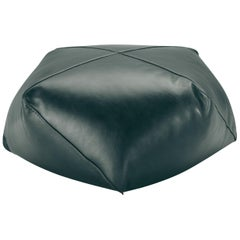 Missoni Home Plato Diamante Pouf in Solid Green Leather