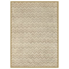 MissoniHome Poum Wool Rug in Cream & Gold Chevron Print