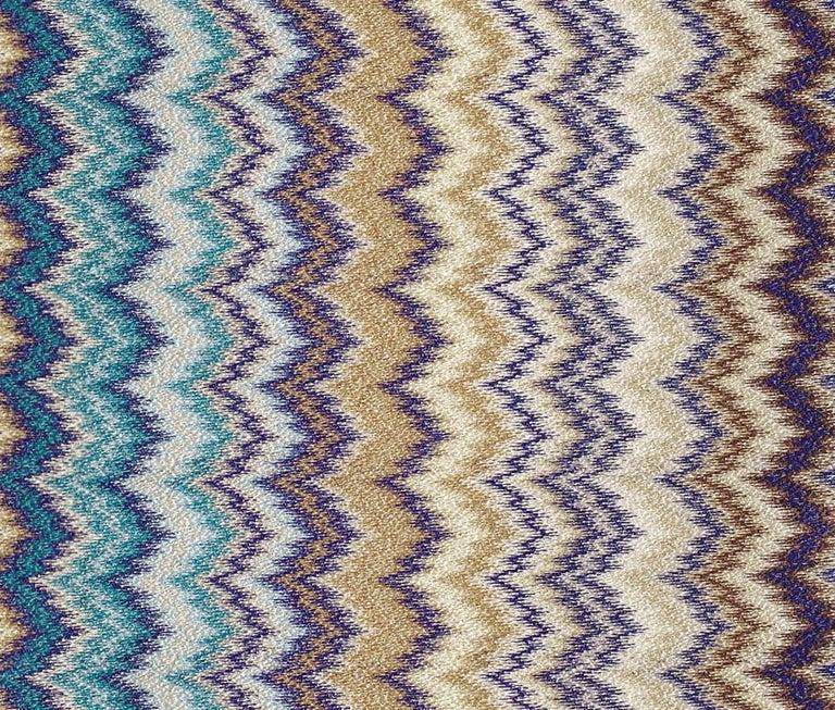 Italian MissoniHome Prudence Throw & Cushion Set in Blue & Multicolor Chevron Print For Sale