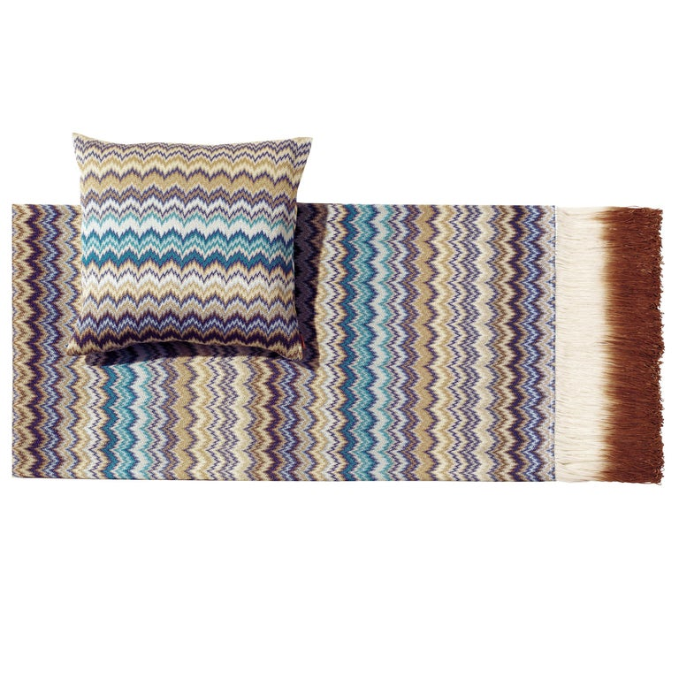 MissoniHome Prudence Throw & Cushion Set in Blue & Multicolor Chevron Print For Sale