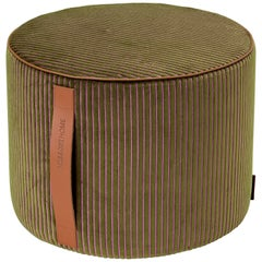 Missoni Home Rafah Cotton-Blend Crushed Velvet Striped Cylinder Pouf