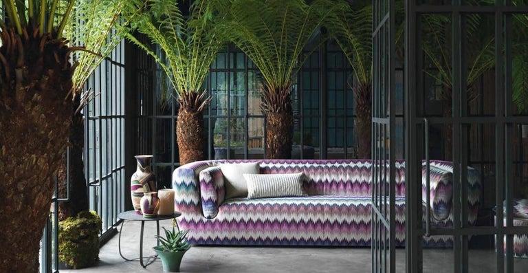 Italian MissoniHome Reserva Cushion in Textured Black & White Cotton For Sale