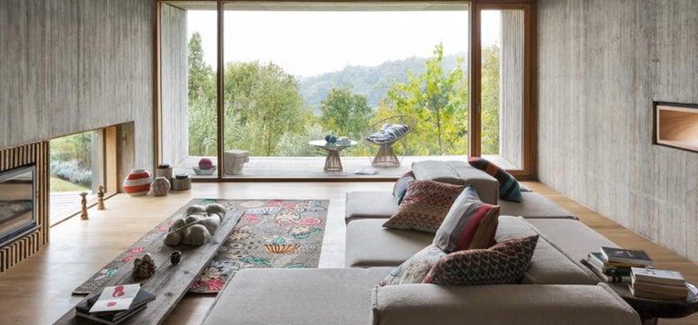 Contemporary MissoniHome Reserva Cushion in Textured Black & White Cotton For Sale
