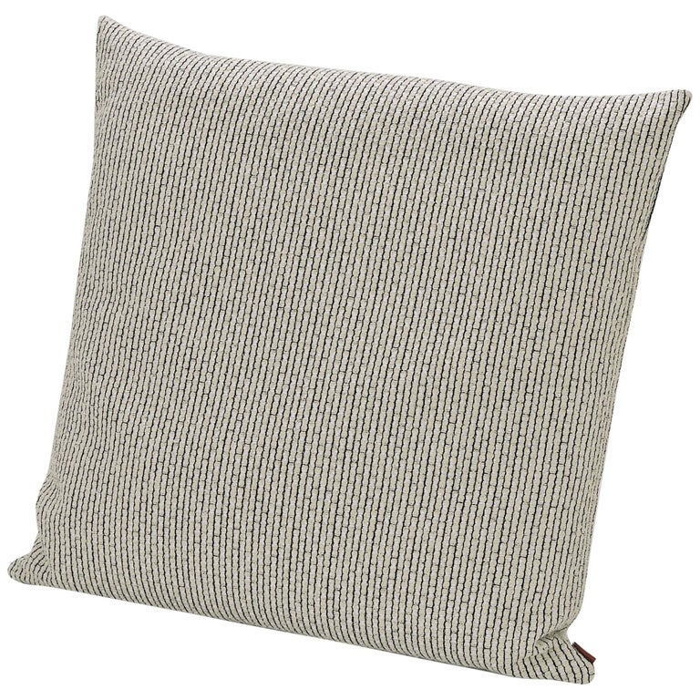 MissoniHome Reserva Cushion in Textured Black & White Cotton For Sale