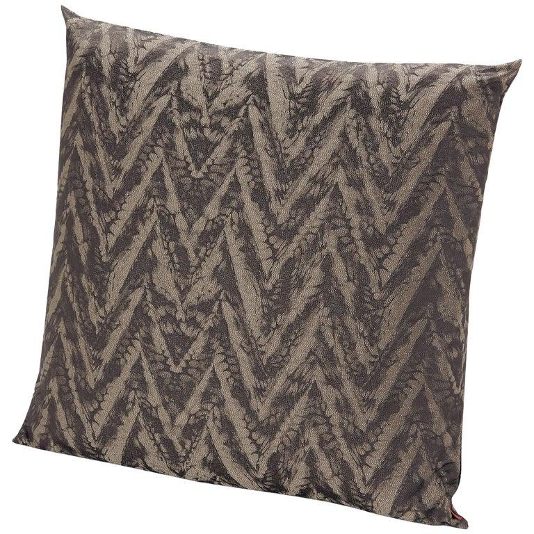 MissoniHome Reunion Cushion with Brown Chevron Print For Sale