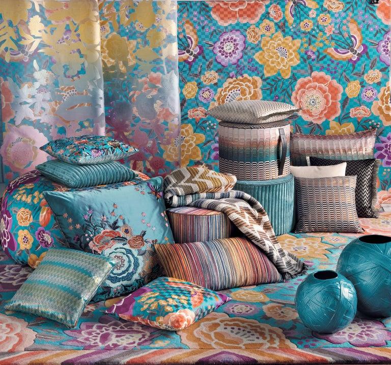Modern MissoniHome Santa Fe Seattle Cushion Set in Multicolor Greek Key Pattern For Sale