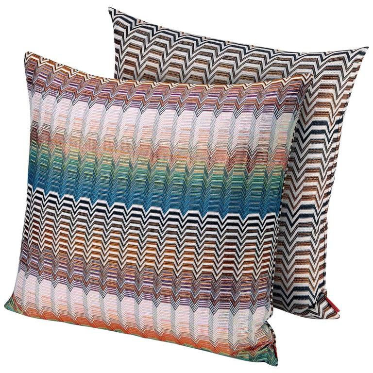 MissoniHome Santa Fe Seattle Cushion Set in Multicolor Greek Key Pattern For Sale