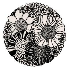 MissoniHome Sapporo Round Rug in Black & White Floral Print