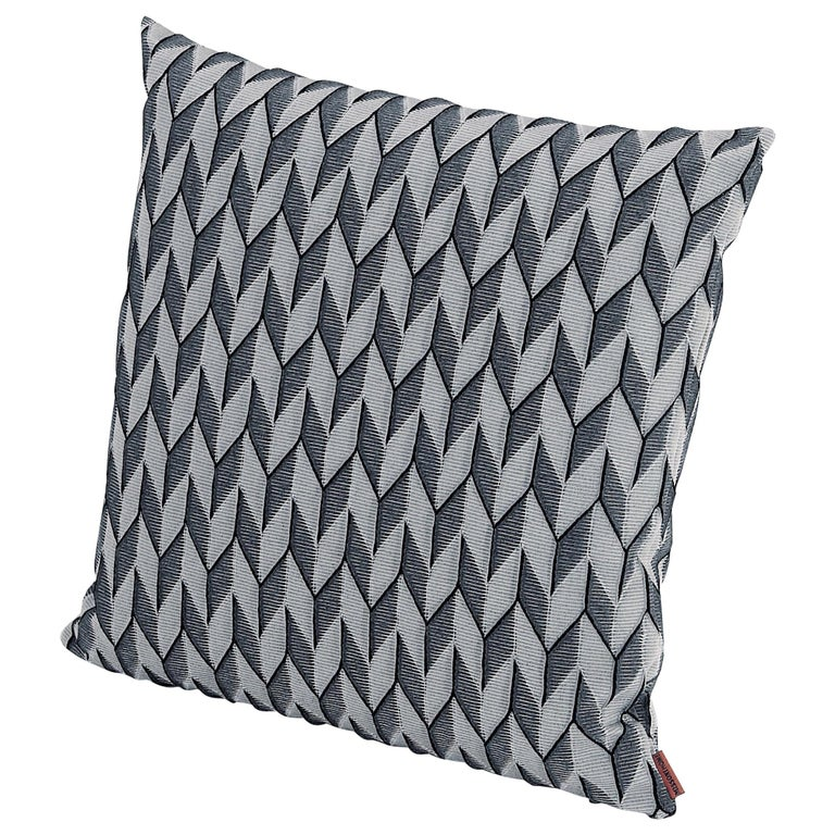 MissoniHome Sestriere Cushion with 3-D Black & White Chevron Print For Sale