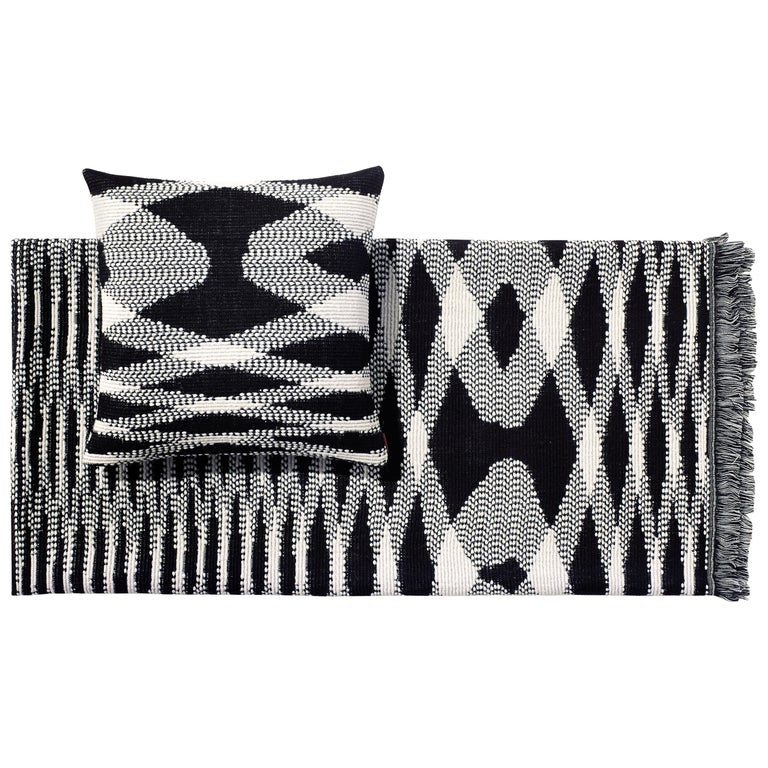 MissoniHome Sigmund Throw & Cushion Set in Black & White Flame Print For Sale