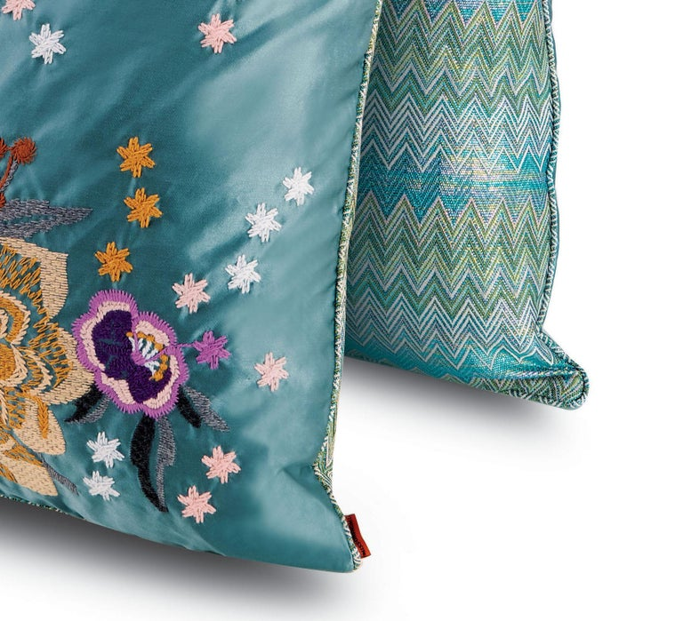 Italian MissoniHome Silves Cushion Set in Multicolor and Blue with Floral Pattern For Sale