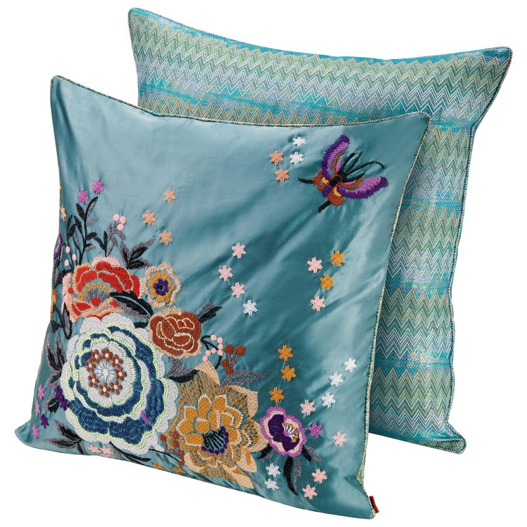 MissoniHome Silves Cushion Set in Multicolor and Blue with Floral Pattern For Sale