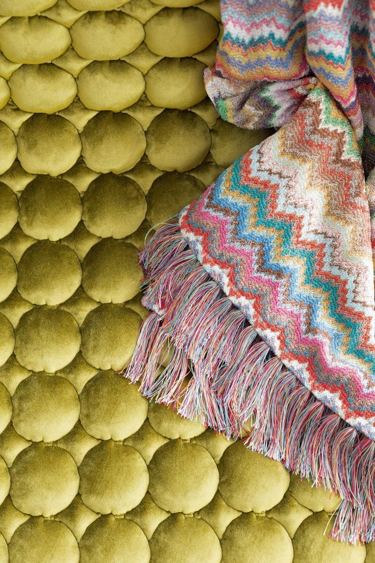 Italian MissoniHome Simone Throw and Cushion Set in Pastel Multicolor Chevron Print For Sale