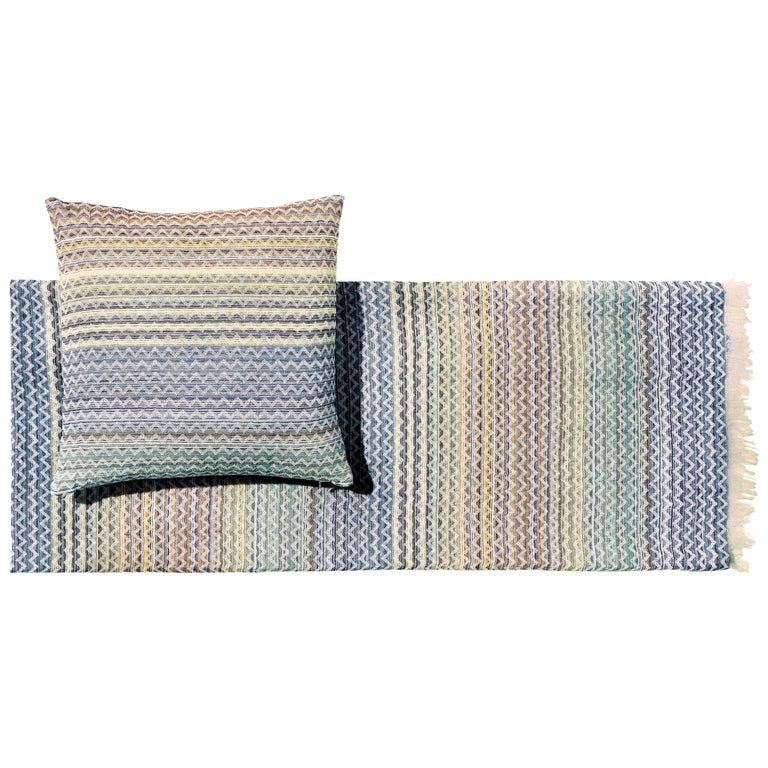 Missoni Home Simone Throw and Cushion Set in Pastel Multicolor Chevron Print For Sale