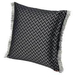 MissoniHome Stanford Cushion in Black Chevron Pattern with Gray Fringe Trim