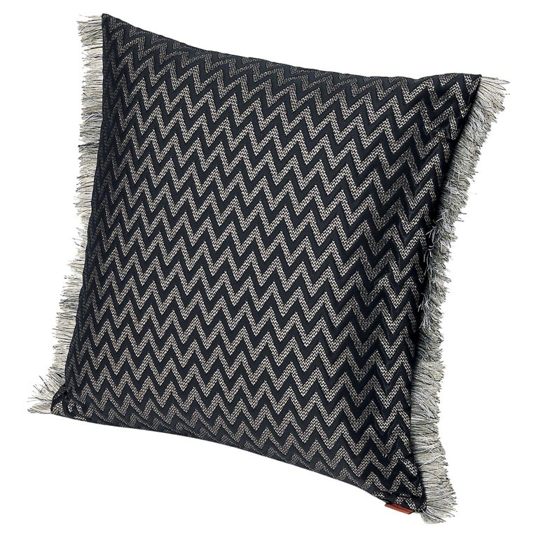 MissoniHome Stanford Cushion in Black Chevron Pattern with Gray Fringe Trim For Sale