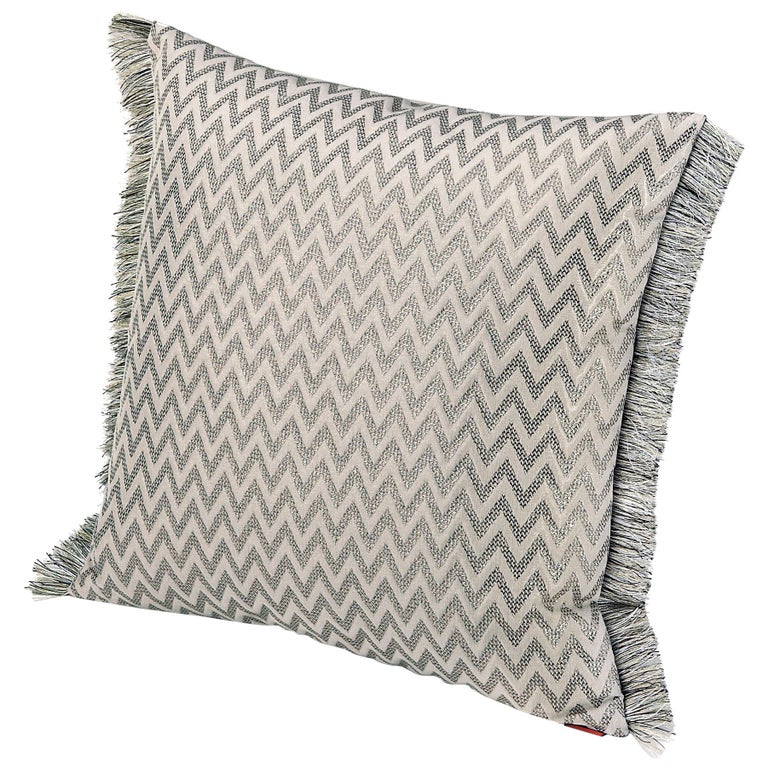 MissoniHome Stanford Cushion in Ivory & Silver Chevron Print with Fringe Trim For Sale