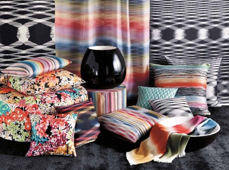 Polyester MissoniHome Svezia Cushion in Black & White Flame Print  For Sale