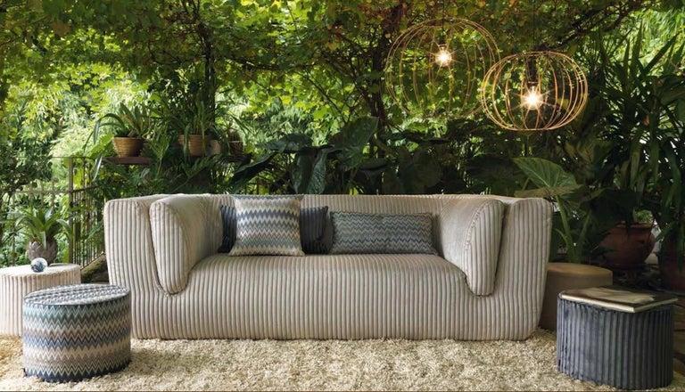 Italian MissoniHome Taipei Cushion in Jacquard W/ Blue & Green Chevron Pattern For Sale