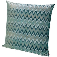 MissoniHome Taipei Cushion in Jacquard W/ Blue & Green Chevron Pattern