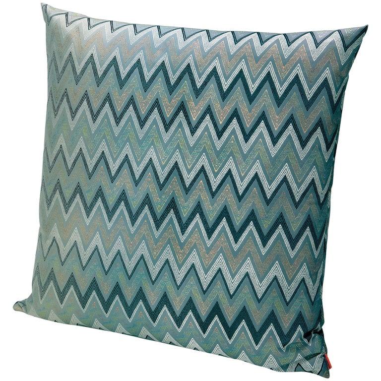 MissoniHome Taipei Cushion in Jacquard W/ Blue & Green Chevron Pattern For Sale
