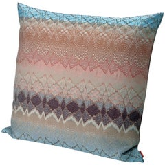MissoniHome Tbilisi Jacquard Cushion in Blue & Pink Wave Pattern