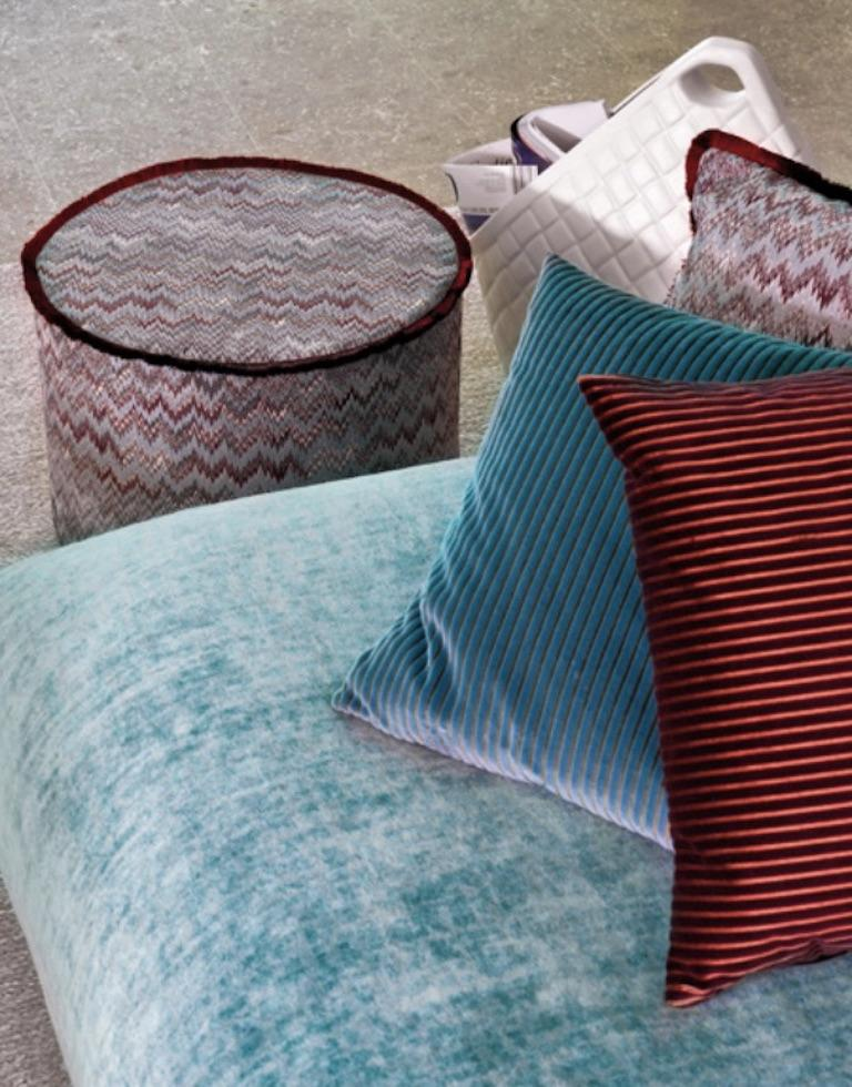 Modern MissoniHome Tibet Cushion in Blue Velvet with Cranberry Border For Sale