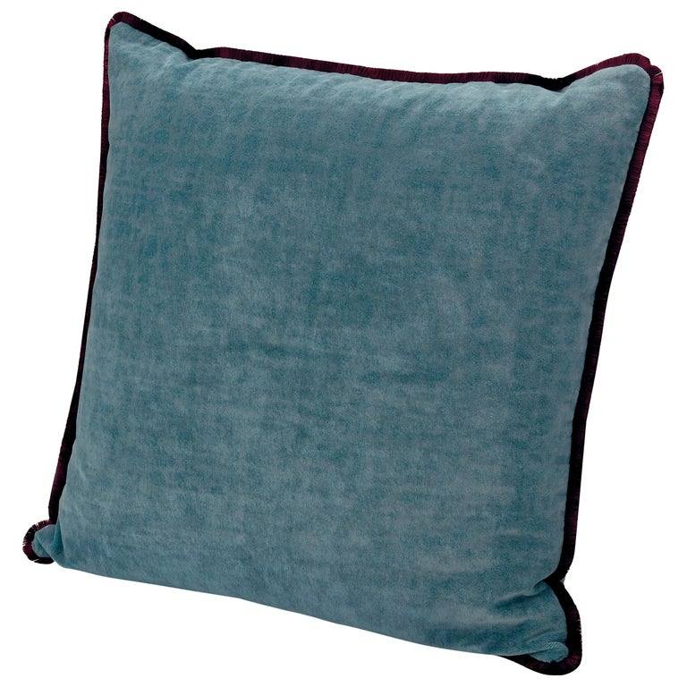 MissoniHome Tibet Cushion in Blue Velvet with Cranberry Border For Sale