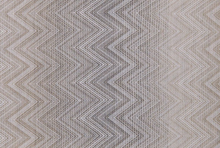 Modern MissoniHome Timmy Throw in Beige and Gray Chevron Print For Sale