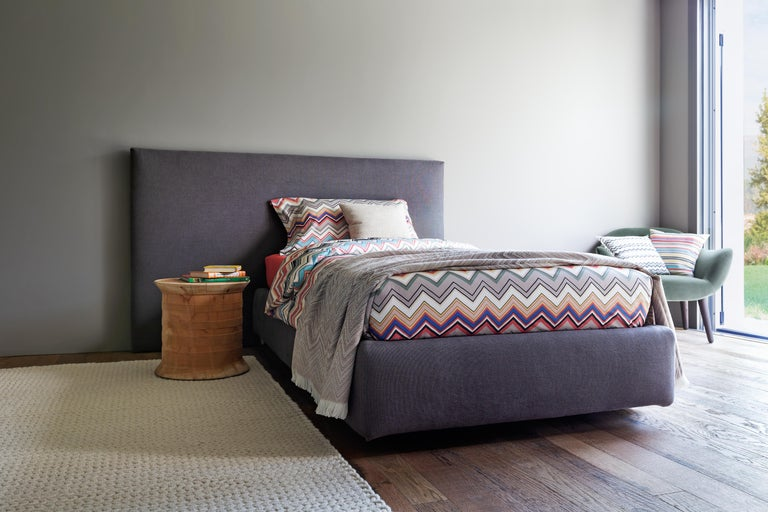 Italian Missoni Home Timmy Throw in Beige and Gray Chevron Print For Sale