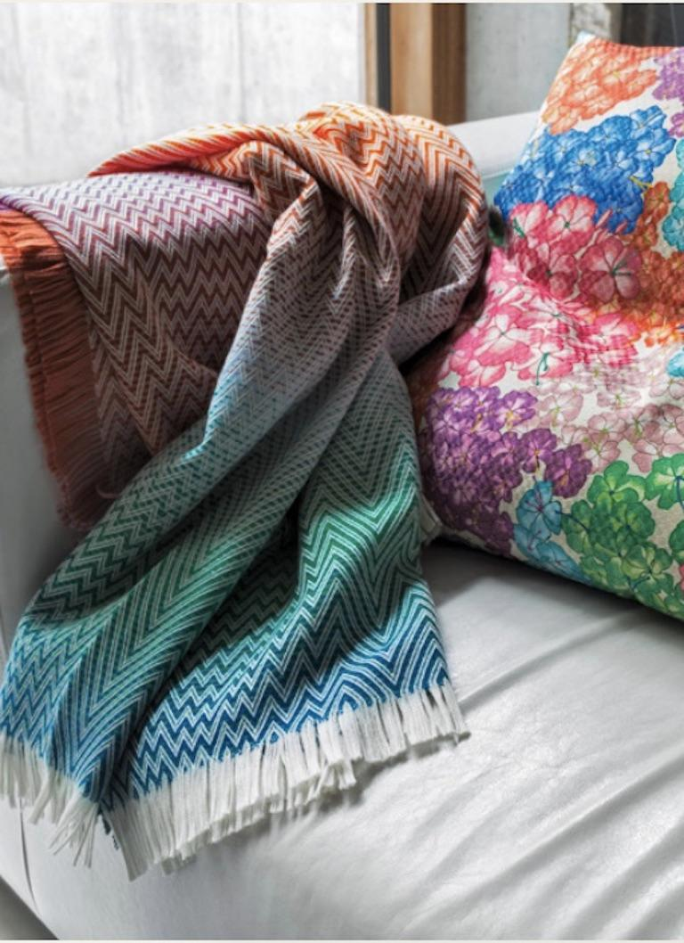 Contemporary MissoniHome Timmy Throw in Beige and Gray Chevron Print For Sale