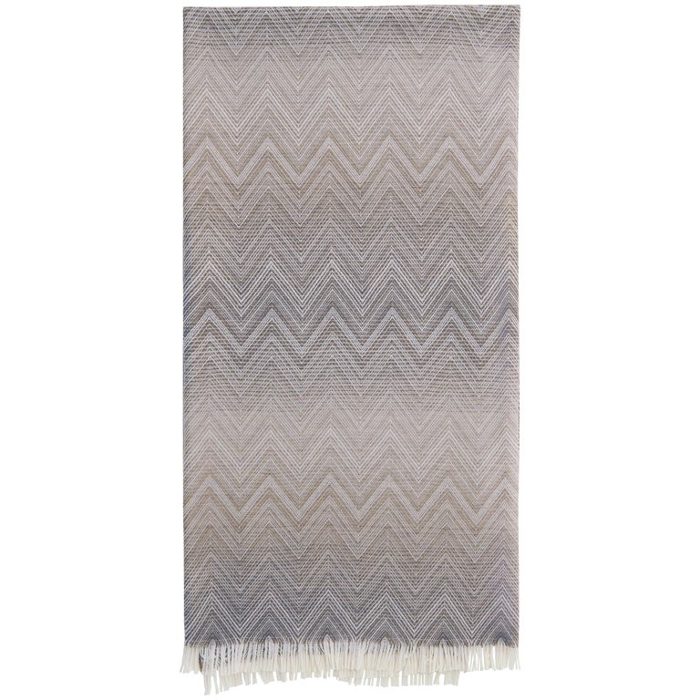 MissoniHome Timmy Throw in Beige and Gray Chevron Print For Sale