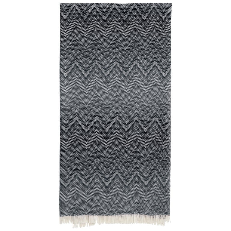 MissoniHome Timmy Throw in Black & White Chevron Print For Sale