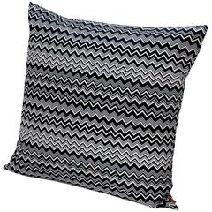 Missoni Home Tobago Cushion in Black and White Chevron Pattern