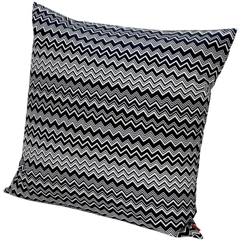 MissoniHome Tobago Cushion in Black and White Chevron Pattern For Sale