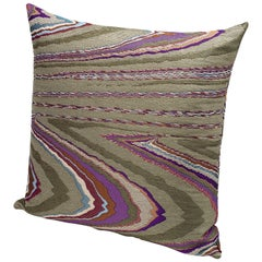 MissoniHome Vallauris Cushion in Jacquard with Multi-Color Macro Slub Print