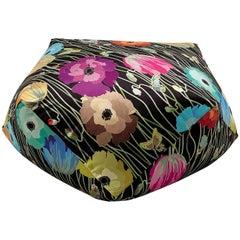 MissoniHome Vancouver Diamante Pouf in Dark Multicolor with Floral Pattern