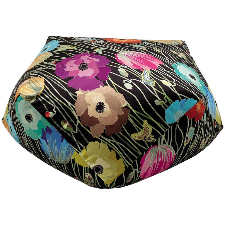 MissoniHome Vancouver Diamante Pouf in Dark Multicolor with Floral Pattern For Sale