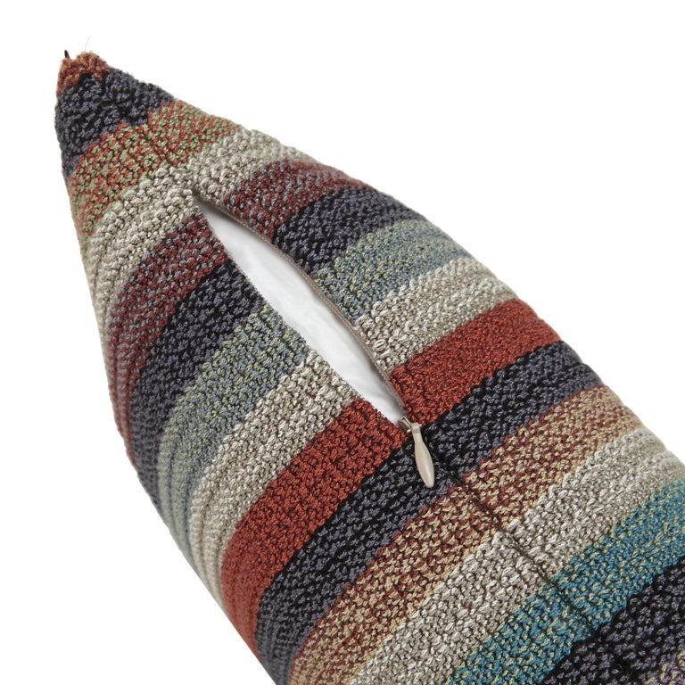 MissoniHome's striped woven cushion in earth tones and removable cover, 95/5 insert fill.