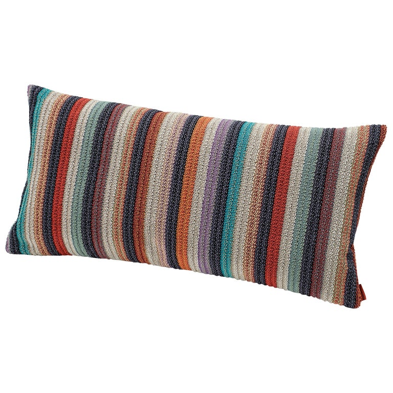 MissoniHome Vanuatu Striped Woven Cushion in Earth Tones For Sale
