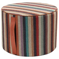 Missoni Home Vanuatu Striped Woven Cylinder Pouf in Earth Tones