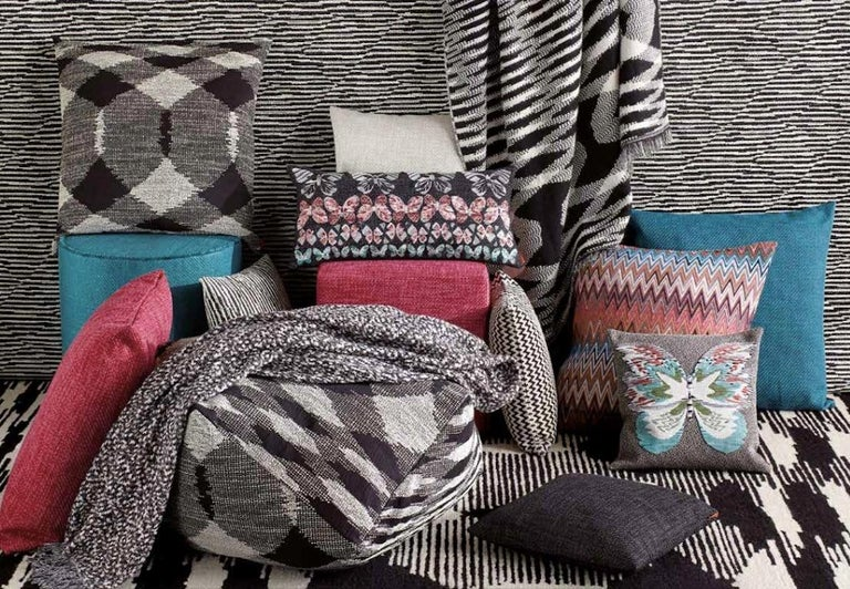 Italian MissoniHome Varberg Cushion in Jacquard with White & Black Stripe Patchwork For Sale