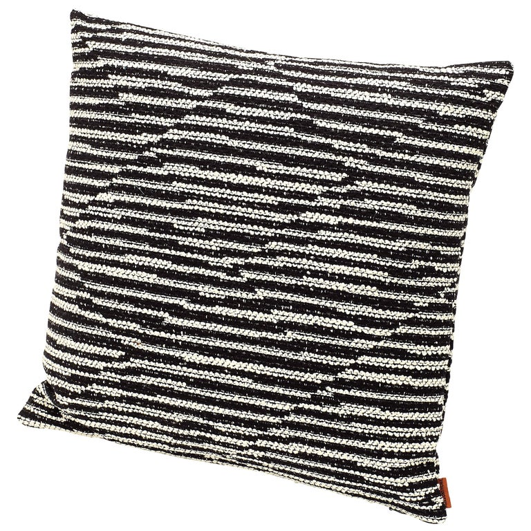 MissoniHome Varberg Cushion in Jacquard with White & Black Stripe Patchwork For Sale