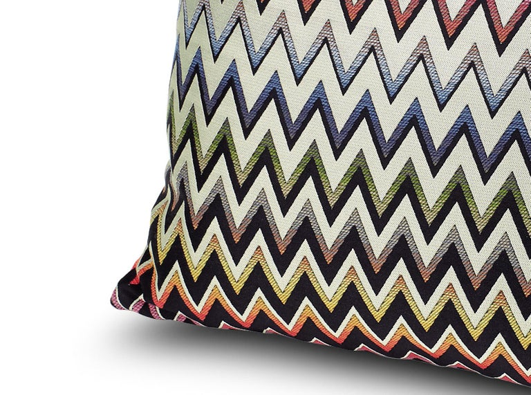 Trevira CS double-face jacquard fabric cushion with chevron design. Double-sided. Dimensions: 16 x 16 inches. Packaged in a disposable plastic cover. Perfect for adding an elegant touch to any bedroom or living room.