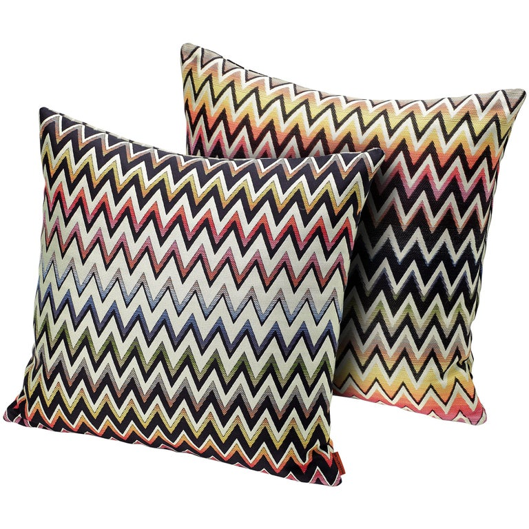 MissoniHome Vernal Cushion Set in Jacquard with Multi-Color Chevron Pattern For Sale