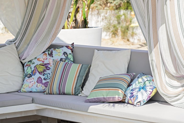 Modern MissoniHome Vientiane Cushion in Jacquard with Multicolor Butterfly Print For Sale