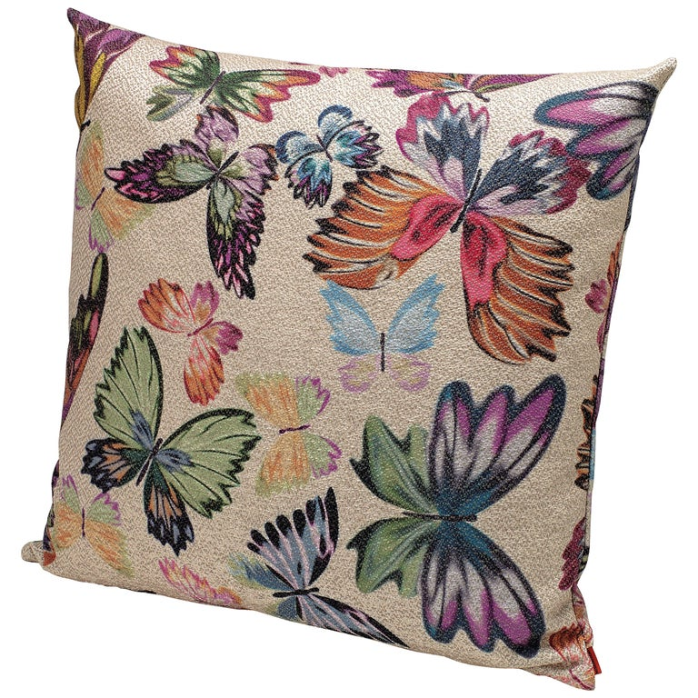 MissoniHome Vientiane Cushion in Jacquard with Multicolor Butterfly Print For Sale