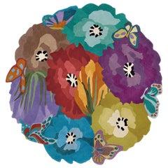 MissoniHome Vigevano Round Wool Rug in Multicolor Floral Patchwork