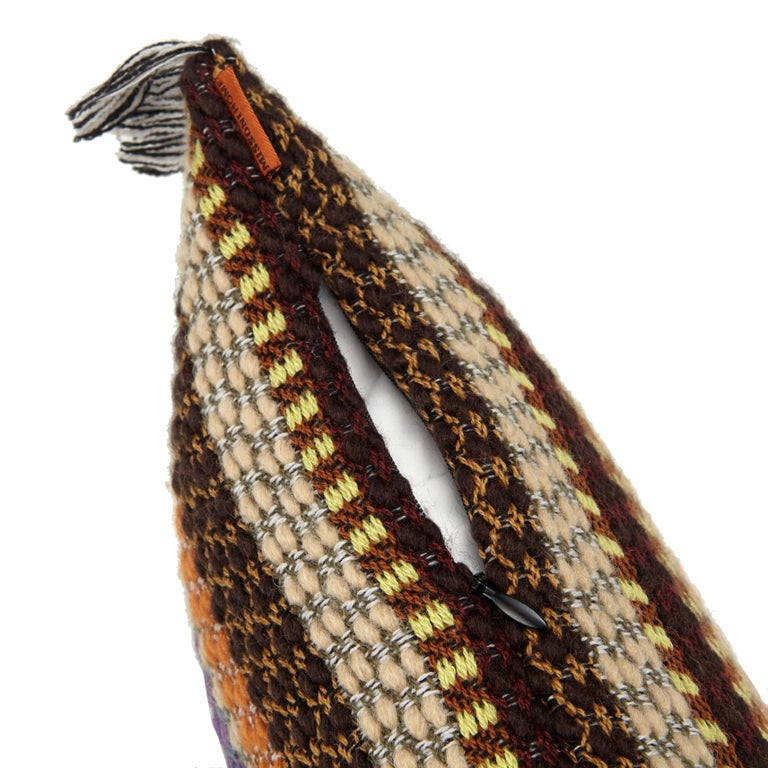 Missoni Home iconic multi-colored woven cushion in a stripe design. All Missoni Home products are custom made to order with the highest quality materials. Perfect for adding an elegant touch to any bedroom or living room.  Composition: 50% Wool,