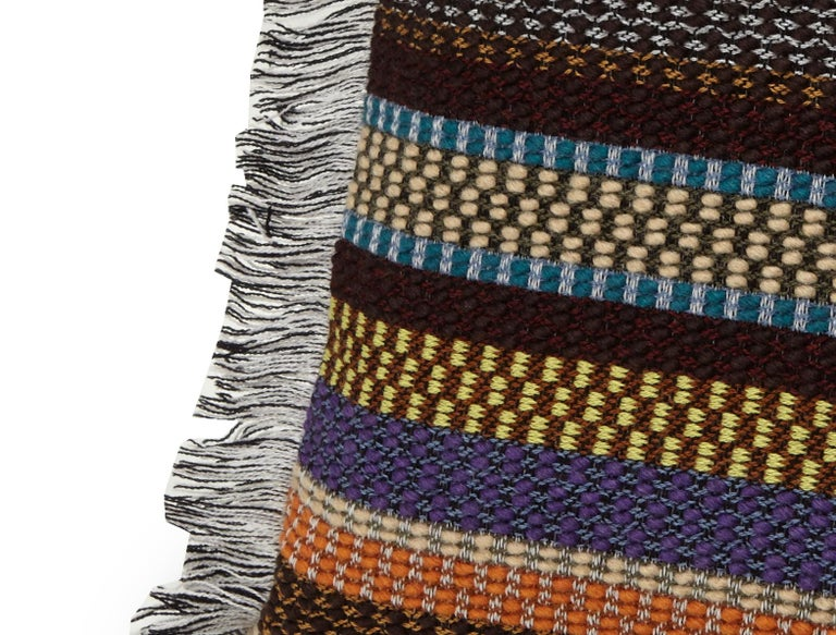 Modern MissoniHome Volfango Cushion in Multicolor Striped Wool with Fringe Trim For Sale